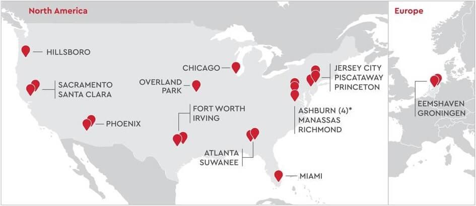 QTS Realty Trust Data Centers Portfolio Map