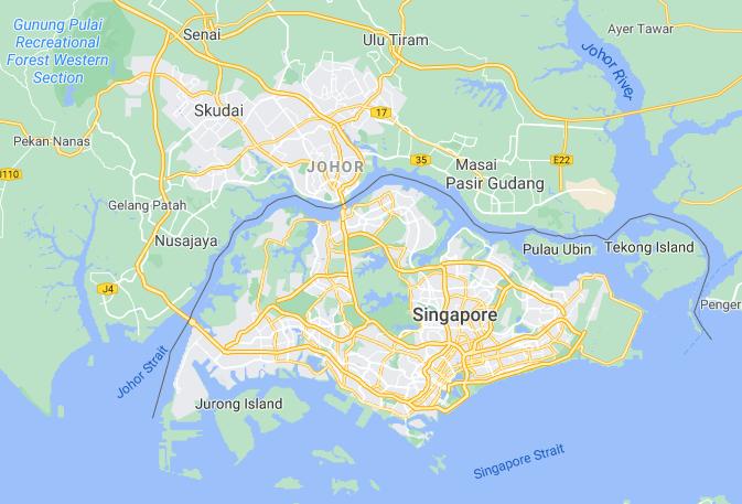 Map of Johor Malaysia and Singapore