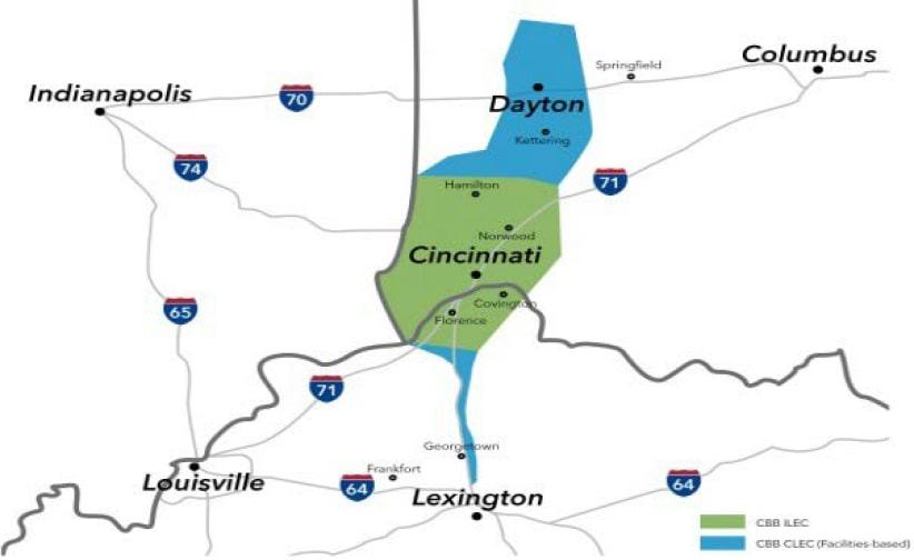 Cincinnati Bell Midwest Network Map